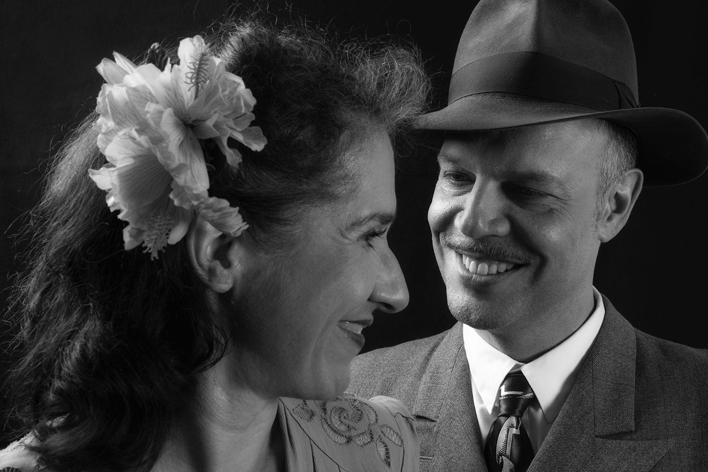 Vintage Portrait eines Paares in schwarz-weiß